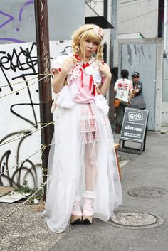 cult party-kei with frothy tulle layers
