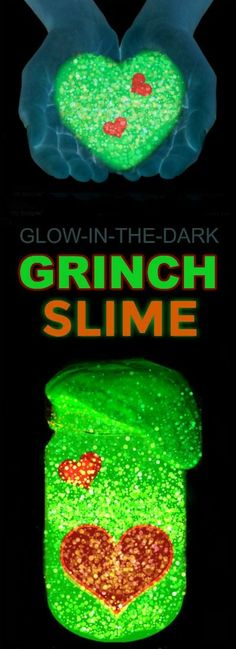 FUN KID PROJECT: Make glowing Grinch slime! So fun & smells just like Christmas! #slime #Christmas #crafts #kids