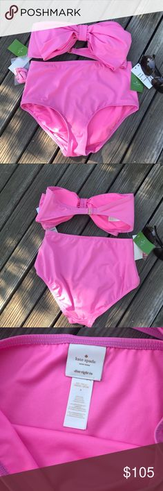 Kate Spade Georgia Beach Bikini Gorgeous Kate Spade Style in vibrant pink!!! Bandeau top has the signature bow, cups for shape and a removable strap. The bottom is a high waist cut and full coverage!! Rock your Style poolside or beach!! Size Medium! Shop More Kate Spade @hipupcycler kate spade Swim Bikinis