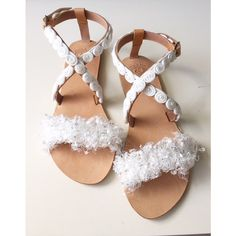 Designer Clothes, Shoes & Bags for Women Bridal Sandals, Boho Sandals, Greek Sandals, White Sandals, Leather Sandals, Small White Flowers, Frou Frou, White Ribbon, Beautiful Gift Boxes