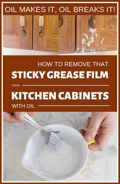 Oil Makes It Oil Breaks It! How To Remove That Sticky Grease Film From Kitchen C… – Regular Clean Kitchen Cabinets Cleaning Grease, Household Cleaning Tips, House Cleaning Tips, Diy Cleaning Products, Cleaning Hacks, Speed Cleaning, Cleaning Spray, Cleaning Recipes, Cleaning Solutions