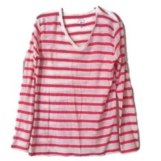 NEW Tee Top Pink White Stripe XL NEW Tee Top Pink White Stripe XL Long Sleeve V-Neck 100% Cotton NWOT by Cuffy's Cape Cod Outfitters Trades Cuffy's Tops Tees - Long Sleeve
