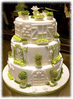 Garden themed wedding cake - For all your cake decorating supplies, please visit craftcompany.co.uk