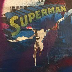 #superman #graffiti #spraypaint #wheatpaste #wallart #dccomics