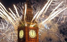 Fireworks light up the London skyline and Big Ben just after midnight on Jan. 2012 in London, England. Thousands of people lined the banks of the River Thames in central London to see in the New Year with a spectacular fireworks display. Happy New Year 2015, New Years 2016, Happy 2015, Year 2016, New Year's Eve Celebrations, New Year Celebration, London Big Ben, Resorts, Good New Year's Resolutions