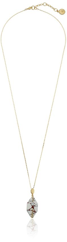"""Jessica Simpson Corn Silk/Crystal/Antique Gold Stone Pave Prong Pendant Necklace, 32"""" + 2"""" Extender. Made in China. 32"""" stone pave prong pendant. Imported."""