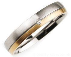4mm Titanium, Diamond and 18ct Gold Ring