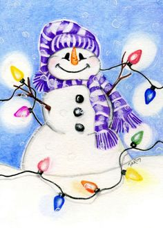 Snowman with christmas lights painting.  Purple scarf and stocking cap.