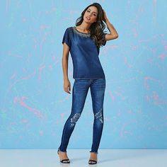 Closet Lit: Jeans Skinny Rips e Blusa bordada! Aqui na #closet...