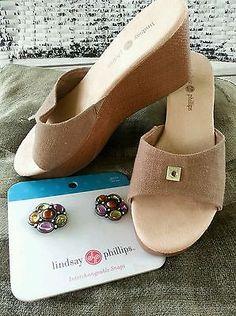 Women's Size 9 1/2 Lindsay Phillips Wedges Interchangeable Snap