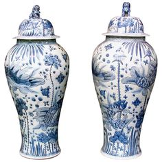 Massive Pair of of Blue & White Hand Painted Temple Jars | From a unique collection of antique and modern ceramics at http://www.1stdibs.com/furniture/asian-art-furniture/ceramics/