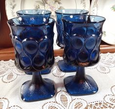4612be34004 Vintage Glassware Mid Century Barware. Noritake Spotlight in Blue Water  Goblet.  MidCenturyModern Noritake