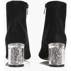Boohoo Annie Clear Glitter Heel Ankle Boot ($52) ❤ liked on Polyvore featuring shoes, boots, ankle booties, glitter booties, glitter bootie, short boots, ankle bootie boots and mid-heel boots