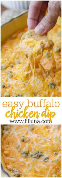Buffalo Chicken Dip - all the flavor of buffalo wings in a creamy, cheesy, simple dip that is perfect for parties and get togethers.