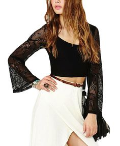 Lace Crop T-Shirt With Long Sleeves from Chicnova Maybe I want this?