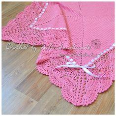 Coral crochet baby blanket Baby Girl Blanket by GerberaHandmade Baby Wrap Blanket, Baby Girl Crochet Blanket, Blanket Shawl, Baby Girl Blankets, Crochet Baby, Baby Patterns, Crochet Patterns, Handmade Baby Blankets, Manta Crochet