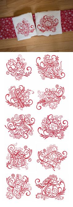 Our Swirly Christmas Redwork embroidery design set is perfect for all of the redwork lovers out there! Quick to stitch and perfect for hostess gifts and quick holiday projects! Now available for instant download at designsbyjuju.com