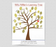 Teacher Thumbprint Tree / Teacher Appreciation Gift- PRINTABLE