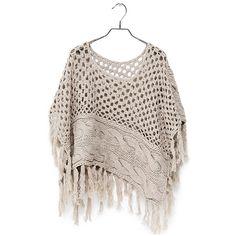 Poncho (59) found on Polyvore. Crochet & knit