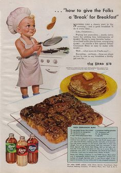 1948 ad for Karo syrup with pancakes