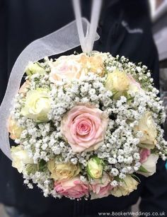 Pink and white rose wedding handtied | Wedding Flowers Liverpool, Merseyside - Specialist Bridal Florist | Flower Delivery Liverpool - Same Day Delivery option | Florist Liverpool | Flower & Gift Shop Liverpool