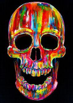 Chromatic Skull Duvet Cover by John Filipe - Queen: x Skull Rug, Skull Print, Print Print, Skull Decor, Skull Head, Colorful Skulls, Skull Painting, Skull Artwork, Body Painting