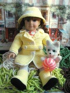 "Instant Download American Girl 18"" Doll Clothes Rainy Day Crochet Pattern Coat Hat and Boots"