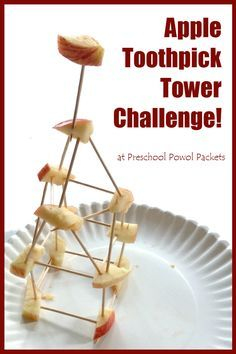 Apple Toothpick Tower Challenge! Wonderful STEM activity for any age kiddo!!  at Preschool Powol Packets