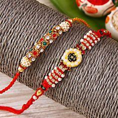 Set of 2 Designer Stone Work Rakhi