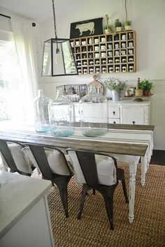 Rustic Metal Wood Dining Chairs With A Farmhouse Table Kitchen