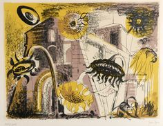 lot1428.jpg (993×768)JOHN PIPER, CH (1903-1992) SUNFLOWERS AT MARIGNAC (L.103) Lithograph printed in colours, 1956, on Arches, inscribed Artist's proof (aside from the numbered edition of 50), published by the Curt Valentin Gallery Image 49 x 63cm