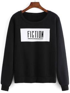 Women Letter Print Black Sweatshirt