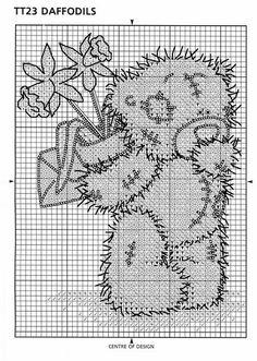 Tatty Teddy with daffodils X-stitch pattern Counted Cross Stitch Patterns, Cross Stitch Charts, Cross Stitch Embroidery, Embroidery Patterns, Hand Embroidery, Tatty Teddy, Cross Stitch Kitchen, Cross Stitch Needles, Cross Stitch Animals