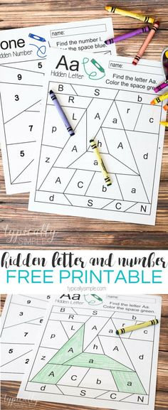 Free printable worksheets to practice letter and number recognition. Grab a few crayons and start coloring to find the Hidden Letter A and Hidden Number Perfect for preschool or early elementary as a way to practice letter and number identification and Preschool Letters, Learning Letters, Preschool Kindergarten, Fun Learning, Preschool Worksheets Alphabet, Free Printable Kindergarten Worksheets, Letter C Worksheets, Letter Recognition Kindergarten, Kindergarten Checklist