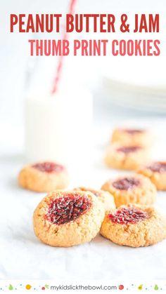 Easy peanut butter cookie recipe, vegan, gluten free, Peanut Butter and Jam thumb print cookies a simple 4 ingredient recipe #peanutbuttercookies #glutenfreecookies #easycookies #cookingwithkids #reciepeforkids #kidsfood
