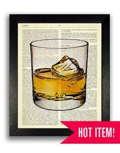 Whiskey Glass Vintage Art Decor, Vintage Whiskey Art Print, Bedroom Wall Decor…