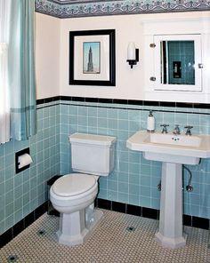 Blue Tile Bathroom: 40 Retro Blue Bathroom Tile Ideas And Pictures 1920s Bathroom, Art Deco Bathroom, Bathroom Tile Designs, Vintage Bathrooms, Bathroom Floor Tiles, Small Bathroom, Bathroom Ideas, Tile Floor, Bathroom Fixtures
