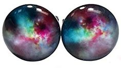 Amazon.com: Galaxy Universe Space Unisex Mens Womens Stainless Steel Stud Earrings (9.5 Millimeters): Jewelry