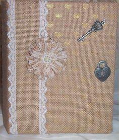 Wedding Burlap Photo Album #4 Key Country Farm Ranch Handmade Flowers silver #Handcrafted