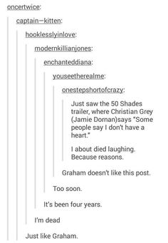 YASSSS! BAHAHAHAH #Oncers UNITE! | A moment of silence for Graham. May he please come back to OUaT even in just flashbacks