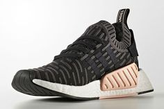 First official look at the adidas NMD Primeknit. adidas NMD Primeknit Women's featuring a black/grey primeknit upper, white boost midsole Nmd Sneakers, Pink Sneakers, Best Sneakers, Running Sneakers, Sneakers Fashion, Adidas Sneakers, Running Shoes, Adidas Originals, Look Adidas