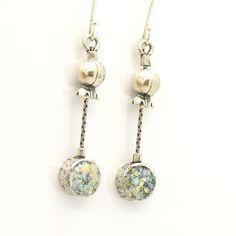 Pomegranate earrings silver metalwork