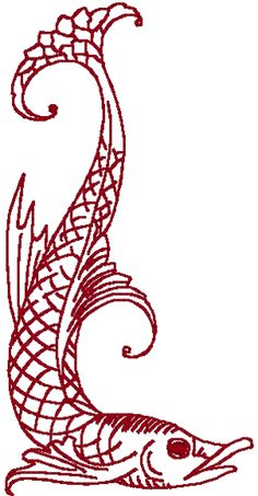 Redwork Asian Fish #3 Embroidery Design.  It is unclear whether the style used for this design was originally Japanese, Chinese, Vietnamese, Korean, Thai, Indonesian or Malaysian. But regardless of which style, it is beautiful, delicate and distinctively Asian.