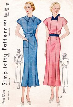 1930s dress Simplicity 1933 2 styles kick pleat skirt scarf neckline Vintage Sewing Pattern bust 38 repro
