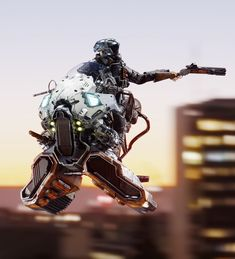 """""""Hoverchopper Chaser"""" by Valentine Sorokin Futuristic Motorcycle, Futuristic Cars, Concept Ships, Concept Cars, Character Concept, Character Design, Cyberpunk Kunst, Concept Motorcycles, Mekka"""