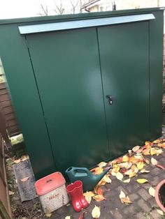 'I'm very happy with my new shed. It easily stores two mountain bikes very well leaving lots more space for the wife's mop bucket and life's other little essentials. It was straightforward to assemble' - Andrew on the Trojan Plus Bike and garden shed! The Trojan Plus is manufactured from galvanised steel and has a 7ft x 3ft footprint and 3-point locking system. #secureshed #metalshed #tallshed #gardenshed #bikeshed #diy #security #mountainbikeshed #bikebox #bikestorage #storageshed… Garden Bike Storage, Metal Shed, Bike Shed, Outdoor Sheds, Galvanized Steel, Double Doors, Very Well, Footprint, Make It Simple