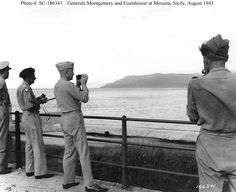 Generals Montgomery and Eisenhower inspecting enemy installations across the Strait of Messina from Sicily, 30 Aug 1943 (US National Archives) Bernard Montgomery, Dwight Eisenhower, Detroit, Flight Nurse, Military Dogs, National Archives, American Presidents, Movie Photo, British Army