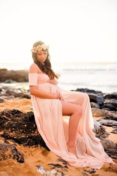 Cameron Gown - Off the Shoulder Cap Sleeve Sheer Chiffon Maternity Gown