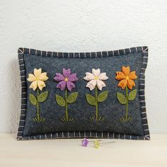 Flower Garden Pincushion / Small Pillow - Hand Embroidered on Grey Wool Felt