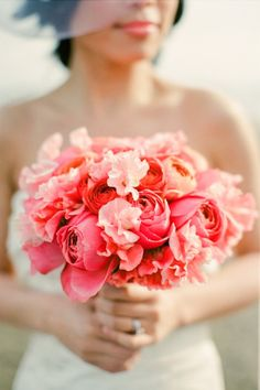 beautiful coral wedding flower bouquet, bridal bouquet, wedding flowers, add pic source on comment and we will update it. www.myfloweraffair.com can create this beautiful wedding flower look.